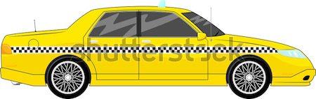 Grappig snel taxi cartoon auto geïsoleerd Stockfoto © hayaship