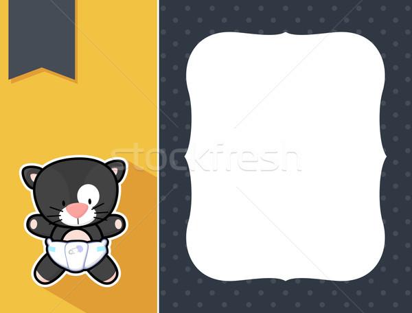 フレーム 赤ちゃん 黒猫 かわいい おむつ ストックフォト © hayaship