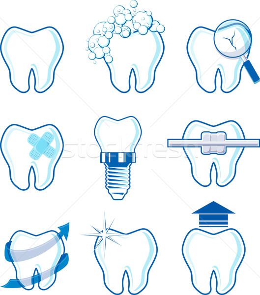 Dentaires icônes dessins isolé blanche vecteur Photo stock © hayaship