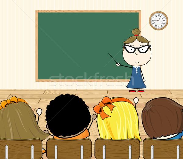 Enseignants classe cartoon illustration élèves enfants Photo stock © hayaship