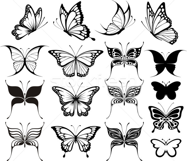 butterflies clipart silhouettes Stock photo © hayaship