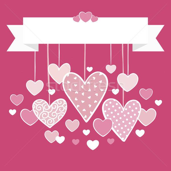 Valentin nap kártya akasztás szívek felső szalag Stock fotó © hayaship