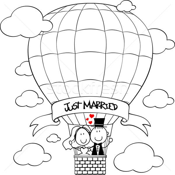 wedding couple on hot air balloon Stock photo © hayaship