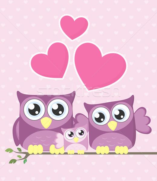 フクロウ 家族 かわいい カップル 赤ちゃん フクロウ ストックフォト © hayaship