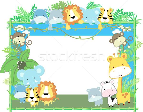 Kinderachtig safari vrienden cute jungle baby Stockfoto © hayaship