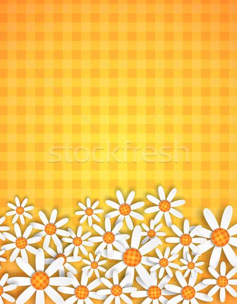 spring flowers background on gingham Stock photo © hayaship