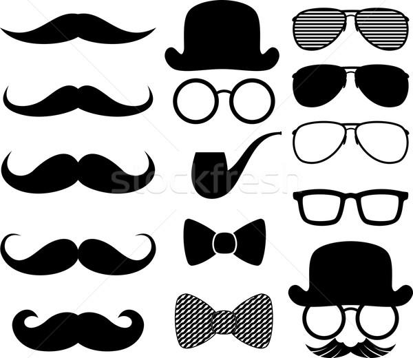 Moustaches silhouettes noir design Photo stock © hayaship