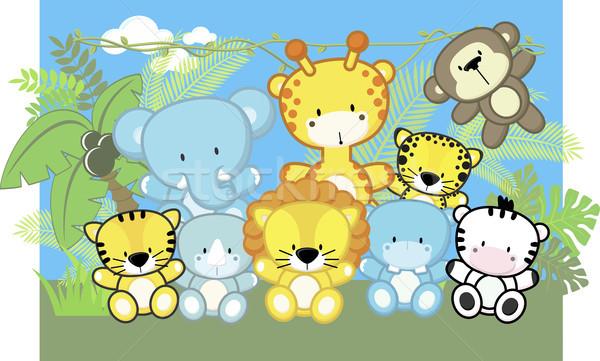 cute jungle baby animals Stock photo © hayaship