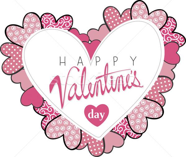 Boldog valentin nap kártya szívek díszek központ Stock fotó © hayaship
