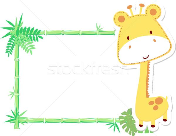 Baba zsiráf keret vektor üres tábla levél Stock fotó © hayaship