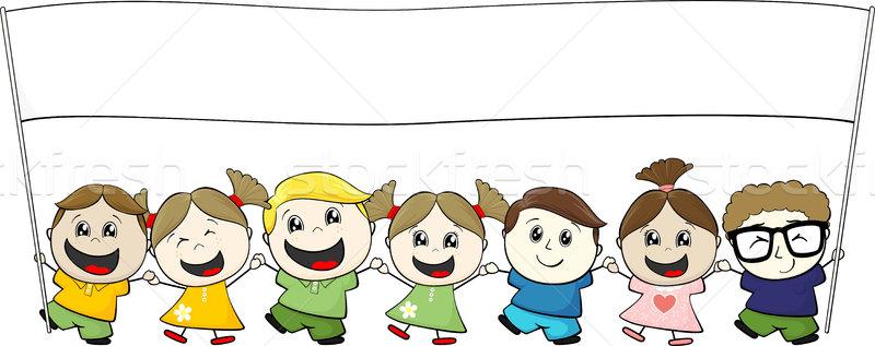 Bannière peu enfants isolé blanche fille Photo stock © hayaship