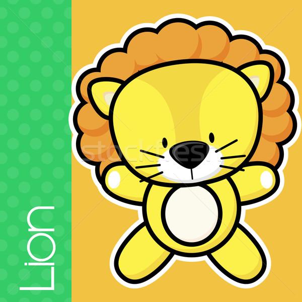 Bébé lion cute peu texte solide Photo stock © hayaship