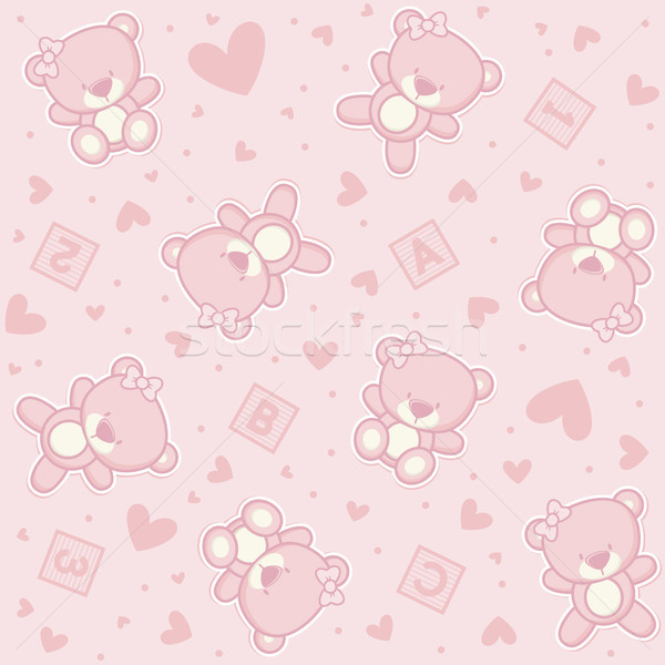 cute teddy bear seamless background with hearts and alphabetical cubes Stock photo © hayaship