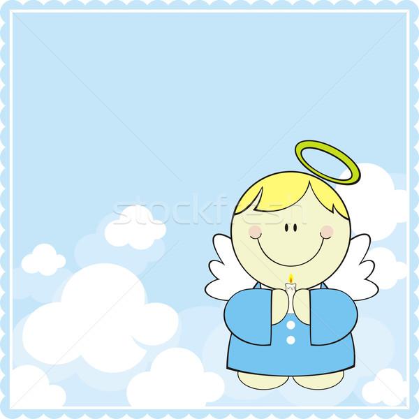 Keresztség üdvözlőlap aranyos kicsi angyal gyertya Stock fotó © hayaship