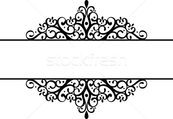 Décoratif silhouette noir isolé blanche frontière Photo stock © hayaship