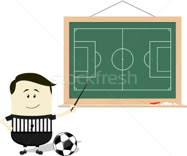Futball iskola döntőbíró tanít rajz illusztráció Stock fotó © hayaship