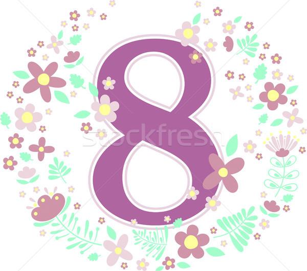 number 8 with decorative flowers Stock photo © hayaship