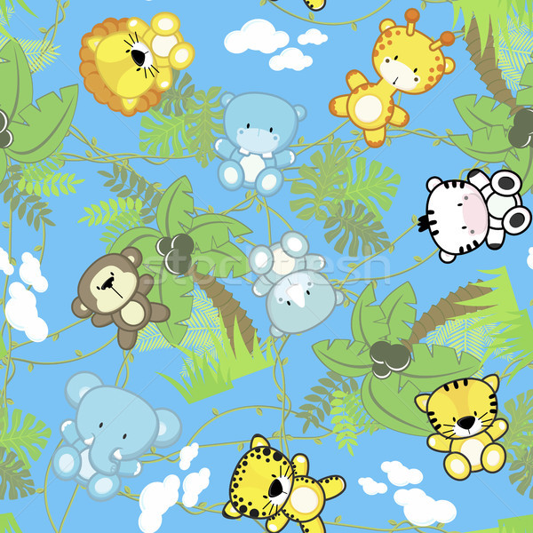 Stock photo: cute safari baby animals seamless pattern
