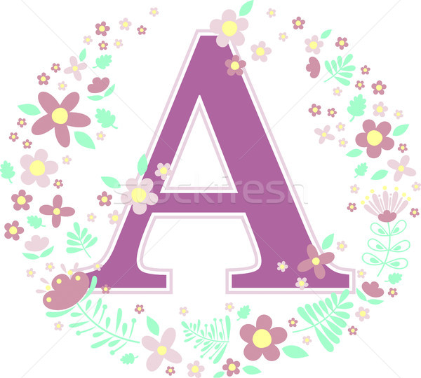 initial letter a with decorative flowers Stock photo © hayaship