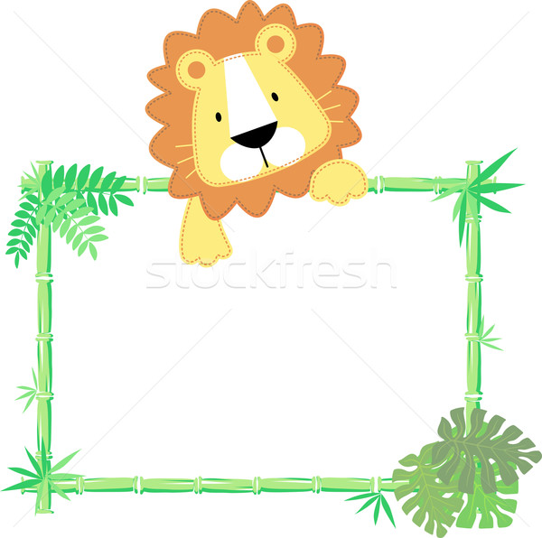 Bébé lion cadre vecteur feuille Photo stock © hayaship
