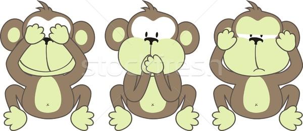 Stok fotoğraf: üç · monkeys · görmek · kötü