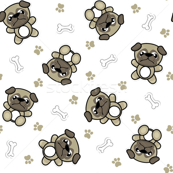 Stock photo: seamless pattern of funny baby pug dogs