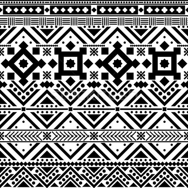 Absztrakt mértani végtelen minta kisebbségi stílus feketefehér Stock fotó © hayaship