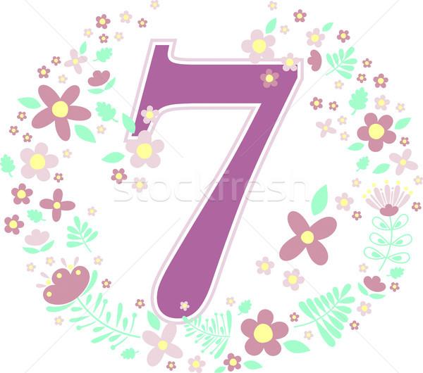 number 7 with decorative flowers Stock photo © hayaship