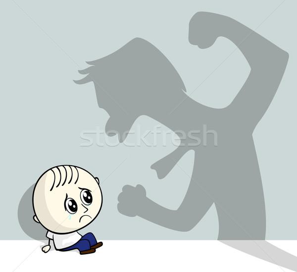 Abuso infantil ilustración pequeño nino sesión suelo Foto stock © hayaship