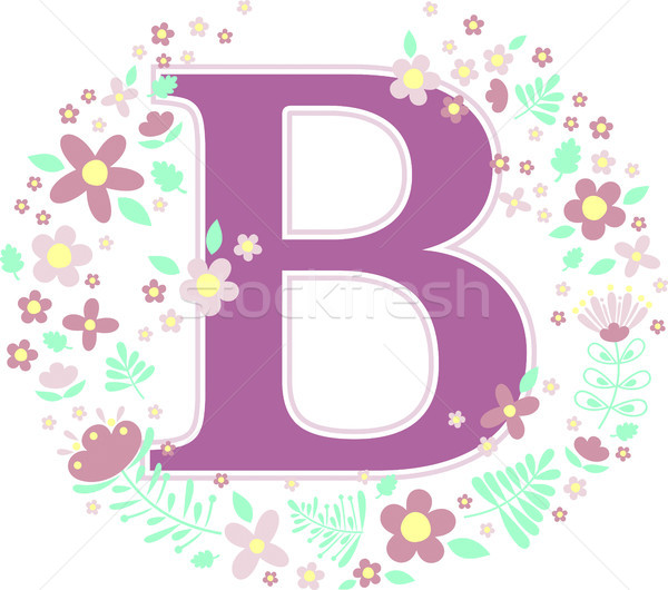 initial letter b with decorative flowers Stock photo © hayaship