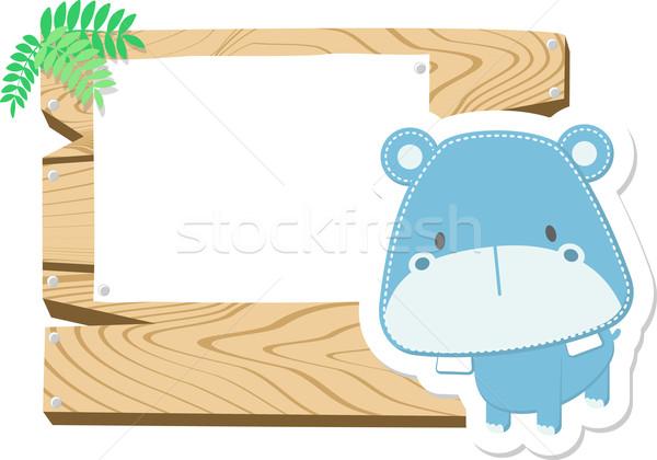 baby hippo blank board Stock photo © hayaship