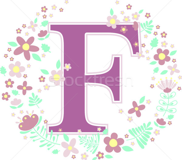 initial letter f with decorative flowers Stock photo © hayaship