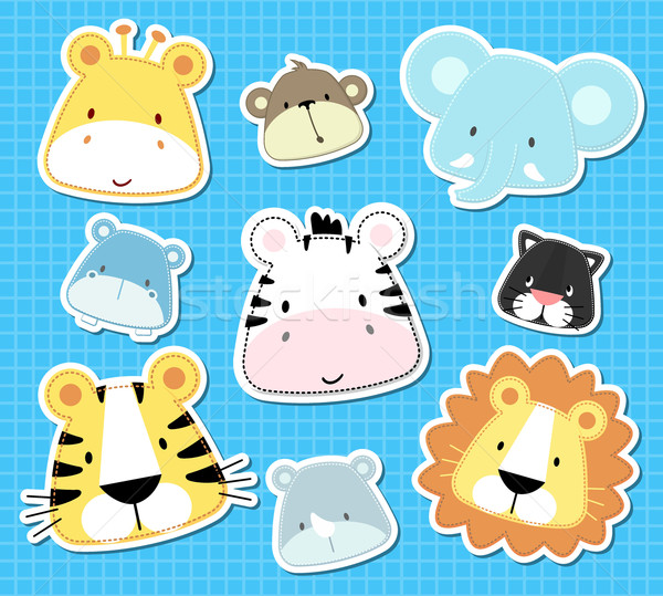 Stock photo: baby safari animals vector
