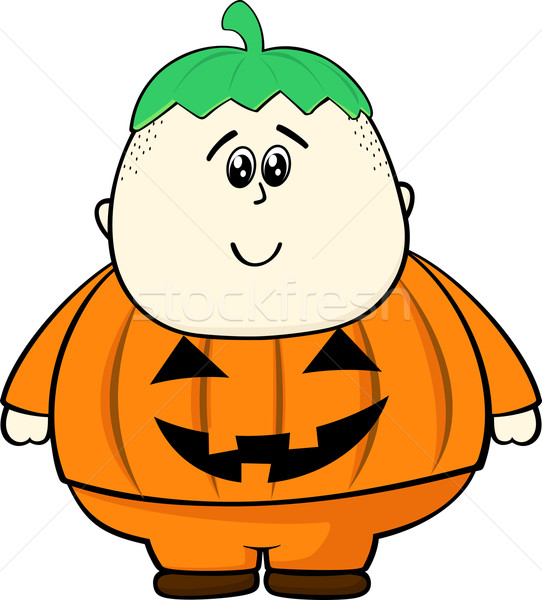 fat kid with pumpkin costume Stock photo © hayaship