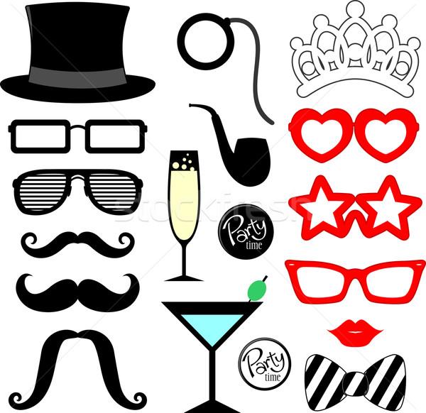 Fête lèvres lunettes silhouettes design Photo stock © hayaship