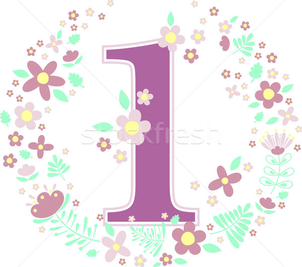 number 1 with decorative flowers Stock photo © hayaship