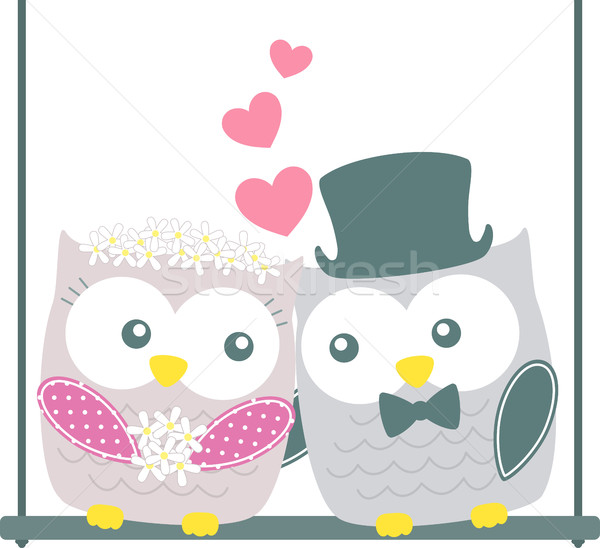 Amour hiboux vecteur cute couple Swing Photo stock © hayaship