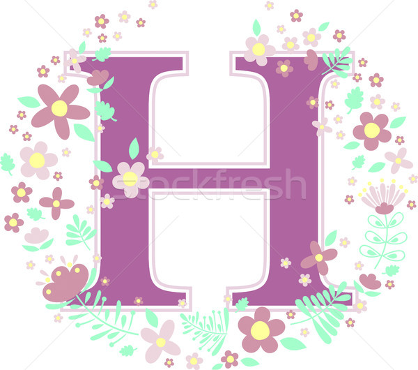 initial letter h with decorative flowers Stock photo © hayaship