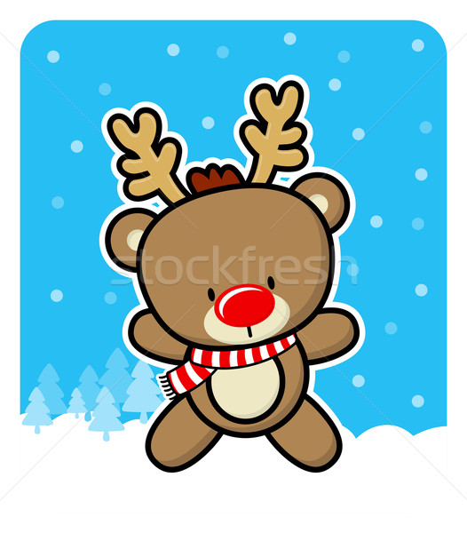 cute red nose baby reindeer  Stock photo © hayaship