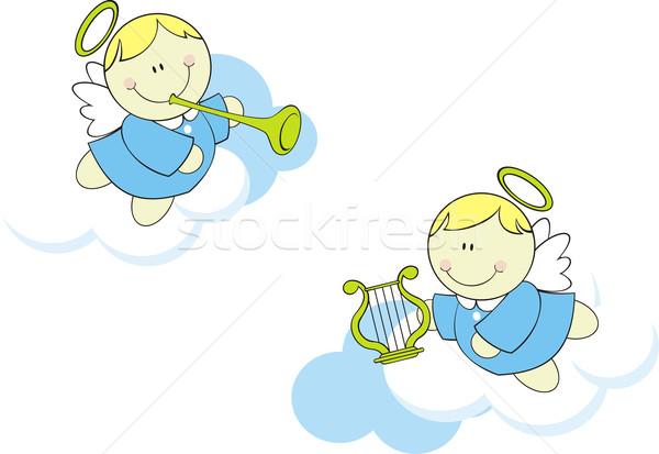 Mały baby odizolowany cute chmury anioł Zdjęcia stock © hayaship