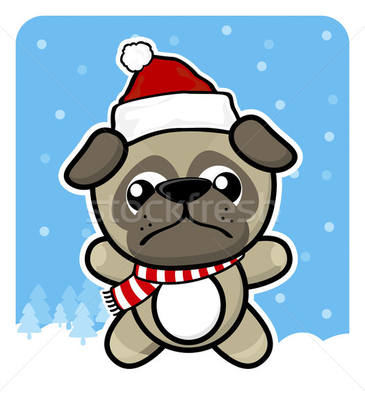 Stock photo: cute baby pug puppy with santa claus red hat