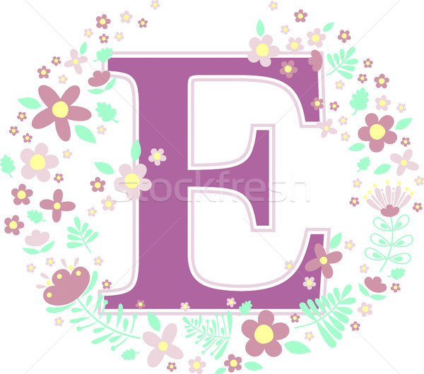 initial letter e with decorative flowers Stock photo © hayaship