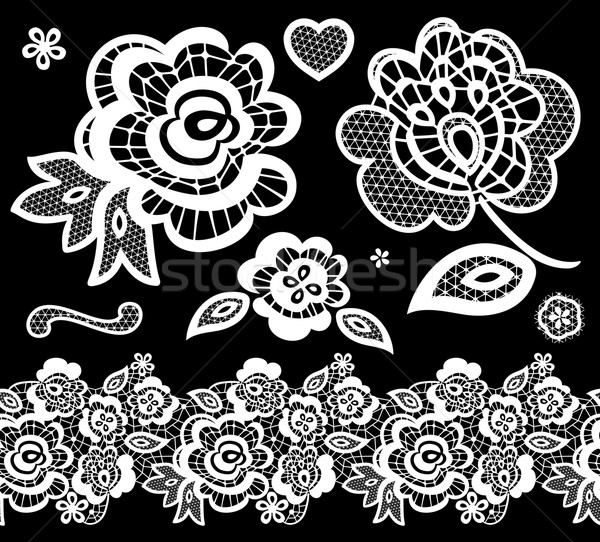 lace embroidery design elements vector Stock photo © hayaship
