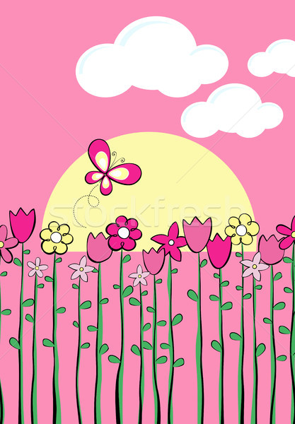 Kinderachtig voorjaar lang lentebloemen vlinder vector Stockfoto © hayaship