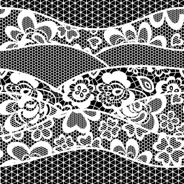 Kant borduurwerk grens geïsoleerd zwarte Stockfoto © hayaship