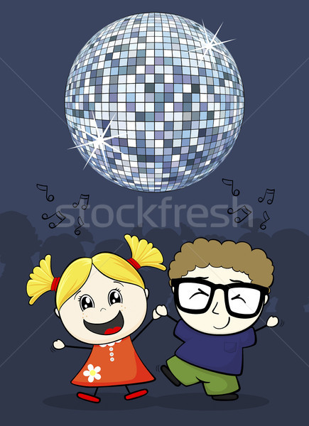 cartoon illustration of little couple dancing with disco ball Stock photo © hayaship
