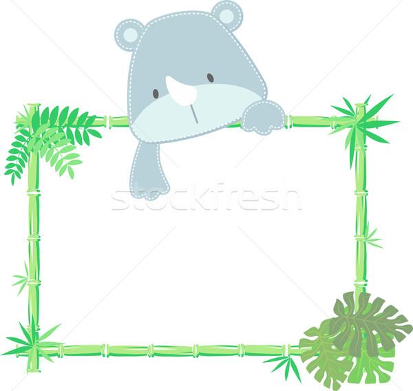 baby rhino frame vector Stock photo © hayaship