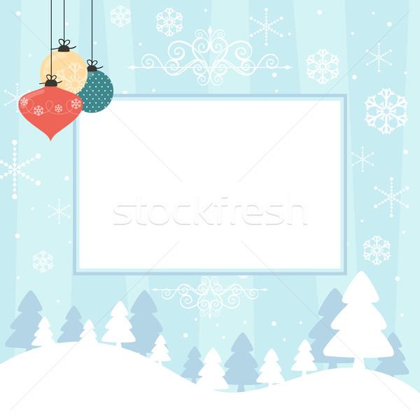 Weihnachten Sammelalbum leer Rahmen Kugeln Schneeflocken Stock foto © hayaship