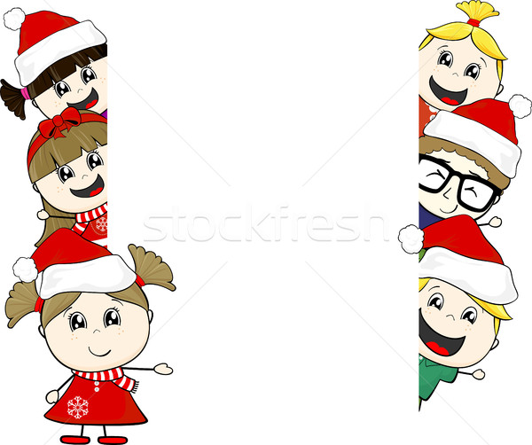 little kids with santa claus hat and blank board Stock photo © hayaship