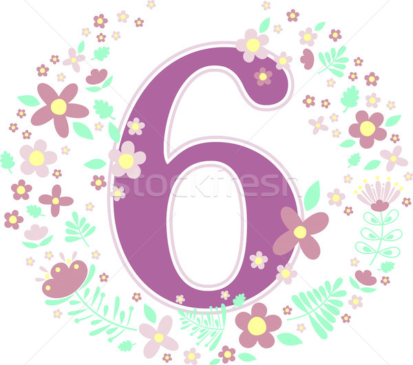 number 6 with decorative flowers Stock photo © hayaship
